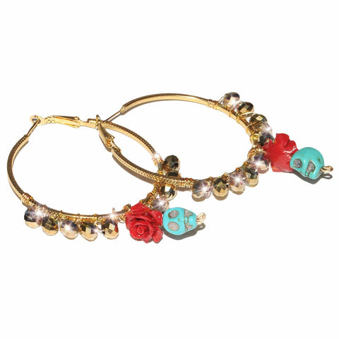 Sugar Skull Crystal Hoops