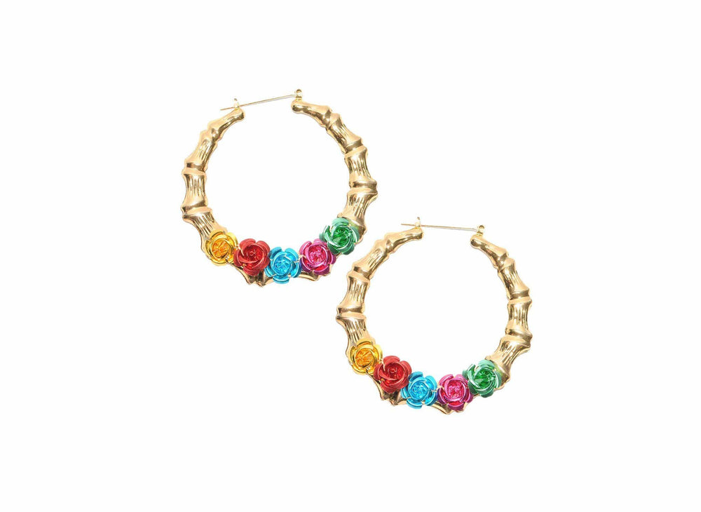 Load image into Gallery viewer, Fiesta Flower Bamboo Hoops