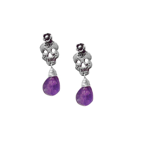 Dia de Los Muertos Amethyst Earrings