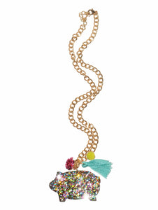 Puerquito Fiesta Glitter Necklace