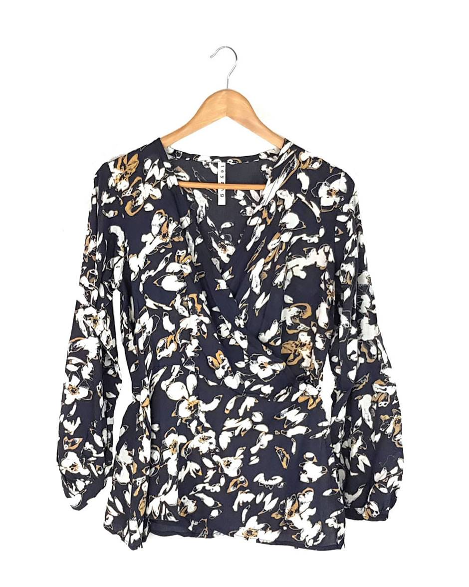 Dark Grey Floral Printed Wrap Blouse