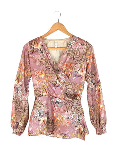 Pink Busy Floral Print Wrap Blouse