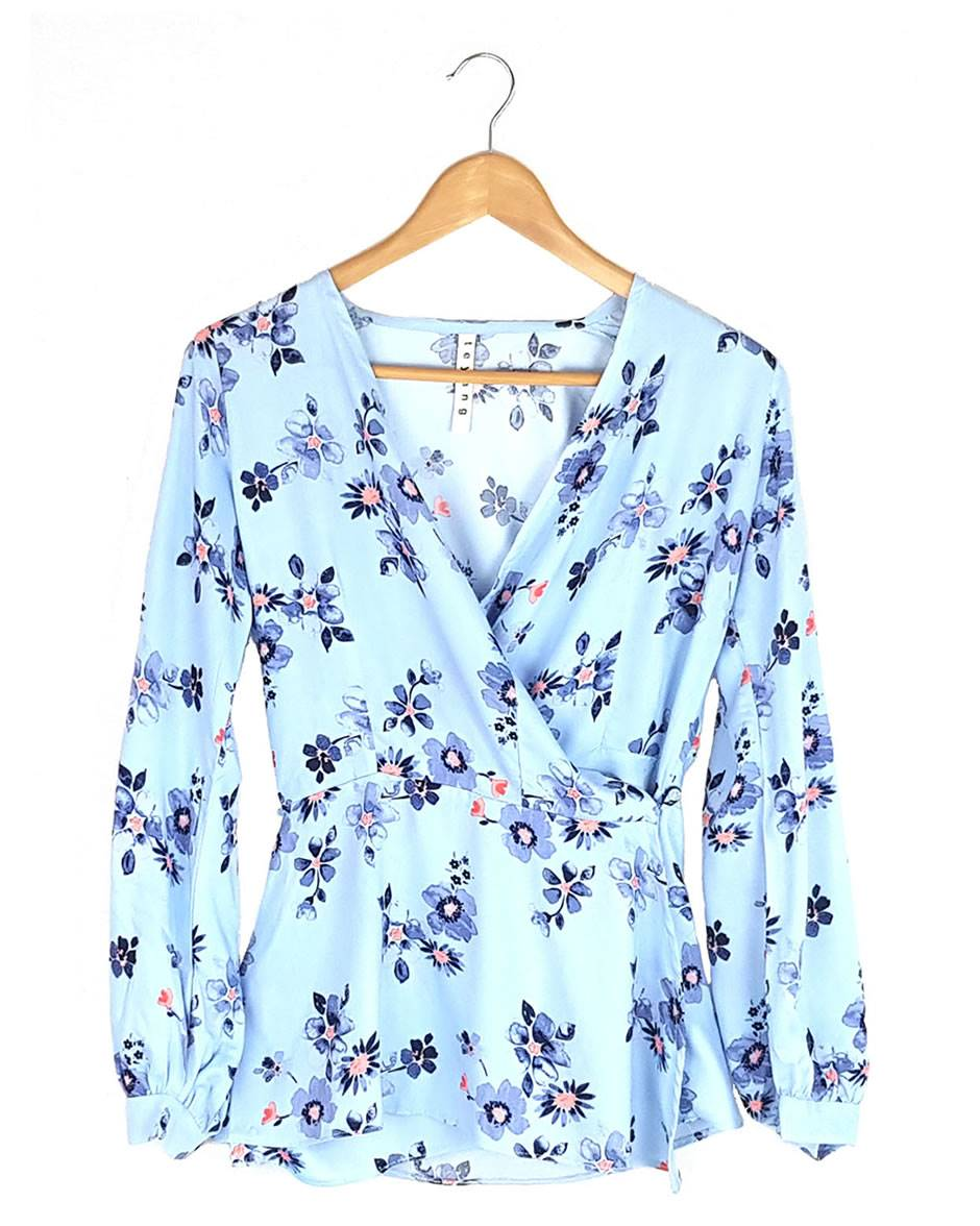 Baby Blue Floral Wrap Blouse