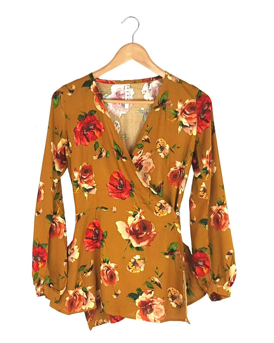 Mustard Floral Wrap Blouse