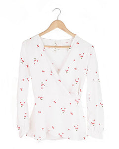 Cherry Print White Wrap Blouse
