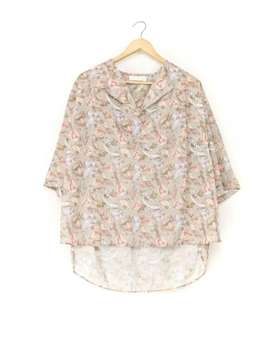 Teyang Multi-print Blouse with Tab Collar