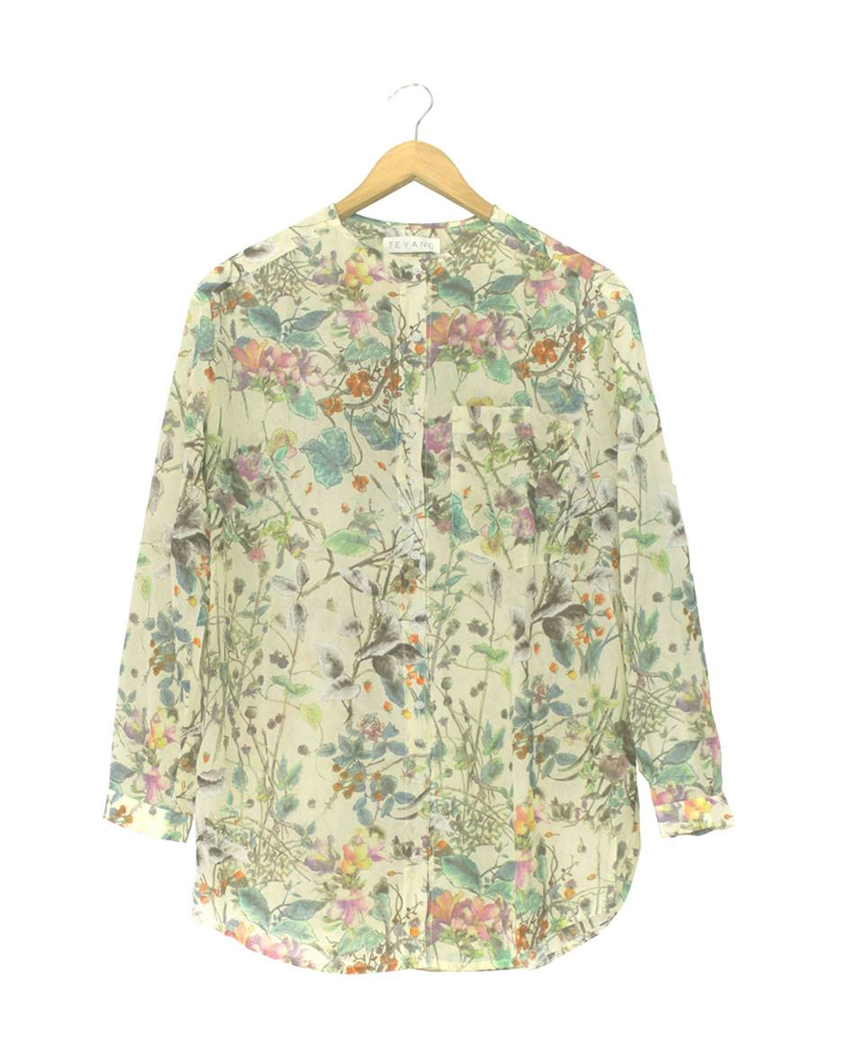 Teyang Floral Shirt with Tab Collar