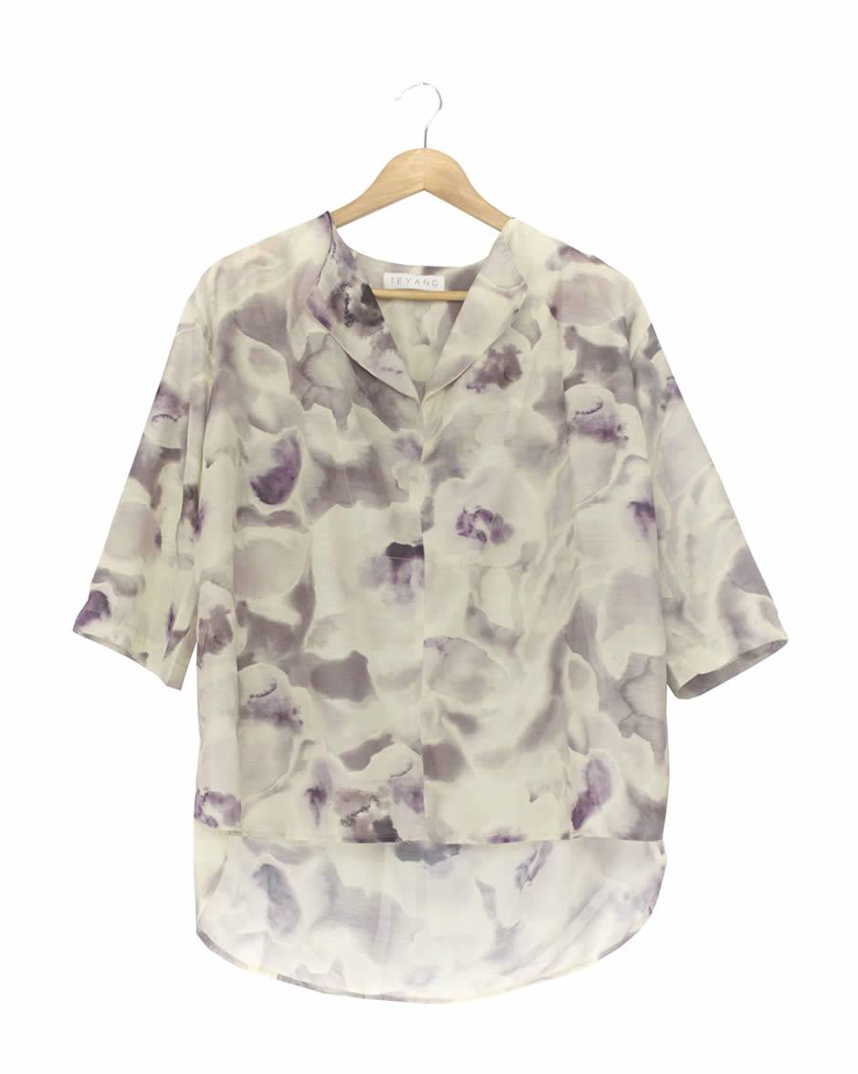 Teyang Floral Blouse with Fold Collar