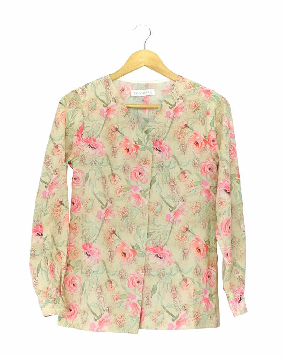 Teyang Floral Long Sleeve Linen Blouse with Tailored Collar