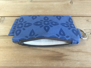 Zipper Wallet-Blue Fabric with Navy 4point
