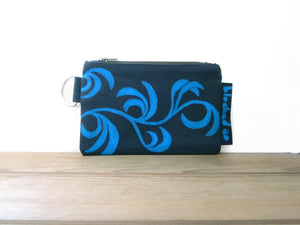 Zipper Wallet-Navy Fabric with Aqua Dancing Leaves