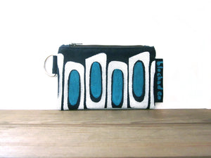 Zipper Wallet-Navy Fabric with Aqua/White Mirrors