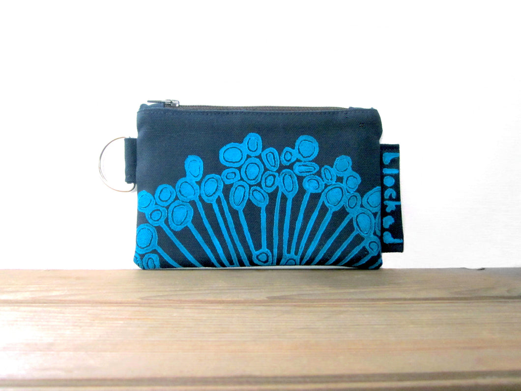 Zipper Wallet-Navy Fabric with Aqua Urchin