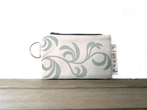 Zipper Wallet-Beige Fabric with Beige Dancing Leaves