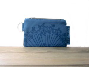 Zipper Wallet-Blue Fabric with Navy Urchin