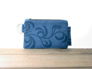 Zipper Wallet-Blue Fabric with Navy Dancing Leaves