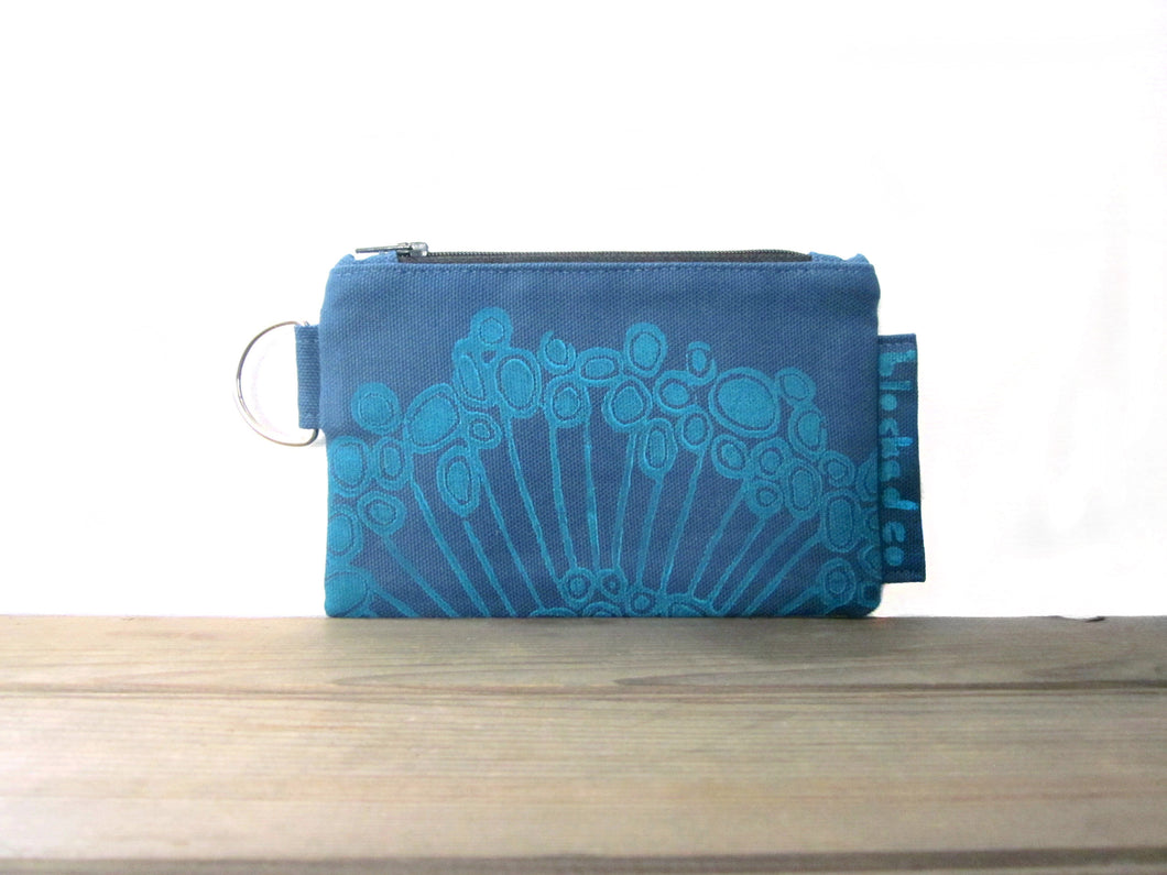 Zipper Wallet-Blue Fabric with Aqua Urchin