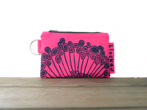 Zipper Wallet-Pink Fabric with Navy Urchin