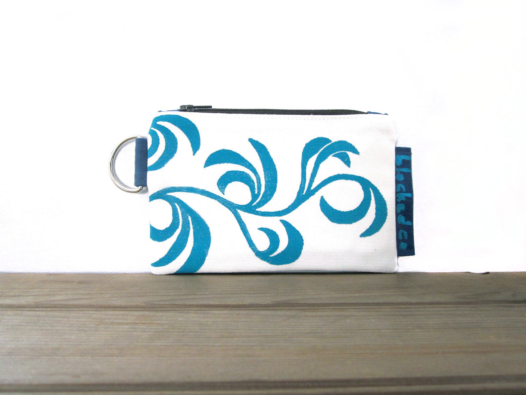Zipper Wallet-White/Blue Fabric with Aqua Dancing Leaves