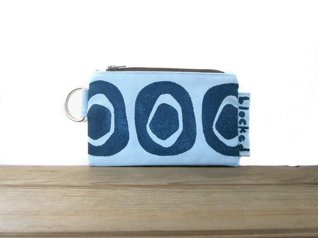 Zipper Wallet-Light Blue Fabric with Navy Avocado