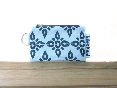 Zipper Wallet-Light Blue Fabric with Navy 4point