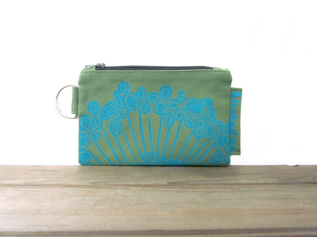 Zipper Wallet-Fern Fabric with Aqua Urchin