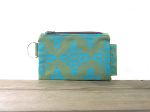 Zipper Wallet-Fern Fabric with Aqua 4point