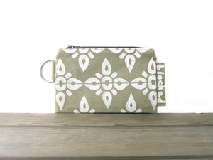 Zipper Wallet-Dark Beige Fabric with White 4point