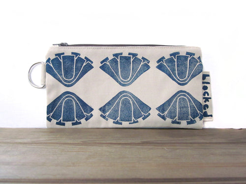 Large Zipper Wallet-Beige Fabric with Navy Art Deco Flowers