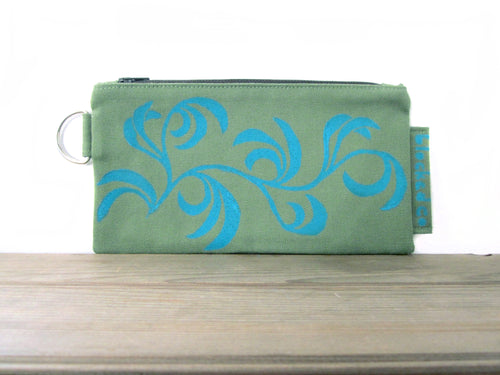 Large Zipper Wallet-Fern Fabric with Aqua Dancing Leaves