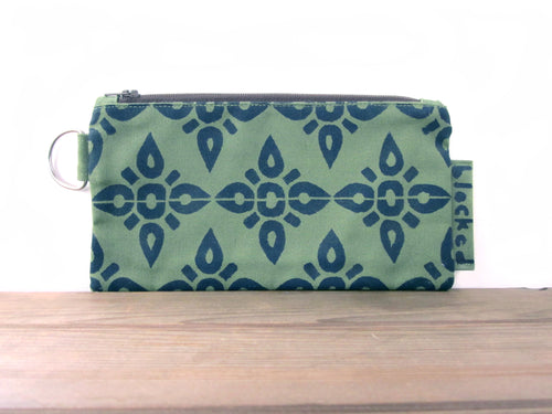 Large Zipper Wallet-Fern Fabric with Navy 4point
