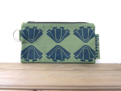 Large Zipper Wallet-Fern Fabric with Navy Art Deco Flowers