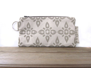 Large Zipper Wallet-Beige Fabric with Beige 4point