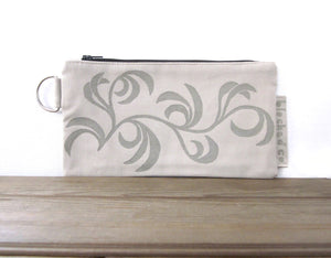 Large Zipper Wallet-Beige Fabric with Beige Dancing Leaves
