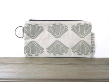 Large Zipper Wallet-Beige Fabric with Beige Art Deco Flowers