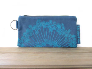 Large Zipper Wallet-Blue Fabric with Aqua Urchin