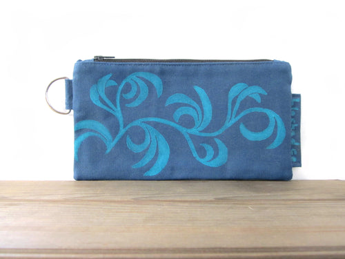 Large Zipper Wallet-Blue Fabric with Aqua Dancing Leaves