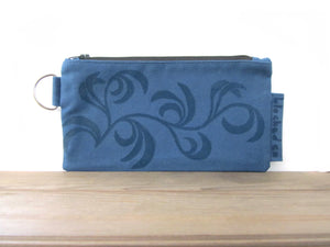 Large Zipper Wallet-Blue Fabric with Navy Dancing Leaves