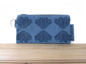 Large Zipper Wallet-Blue Fabric, Navy Art Deco Flower