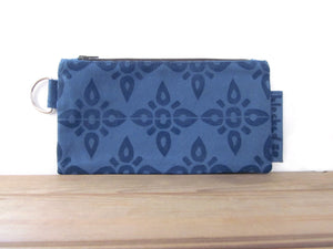 Large Zipper Wallet-Blue Fabric, Navy 4point