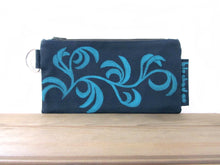 Large Zipper Wallet-Navy Fabric with Aqua Dancing Leaves