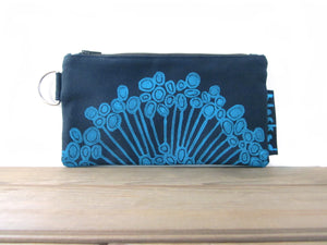 Large Zipper Wallet-Navy Fabric with Aqua Urchin