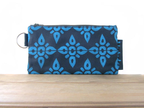 Large Zipper Wallet-Navy Fabric with Aqua 4Point