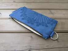 Large Zipper Wallet-Blue Fabric with Navy Urchin