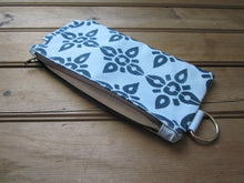Large Zipper Wallet-Light Blue Fabric with Navy 4point