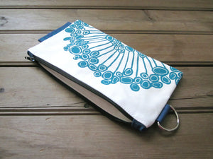 Large Zipper Wallet-White/Blue Fabric with Aqua Urchin