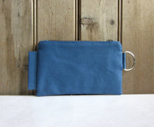 Zipper Wallet-Blue Fabric with Navy Avocado