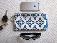 Large Zipper Wallet-Navy Fabric, Aqua/White Mirrors