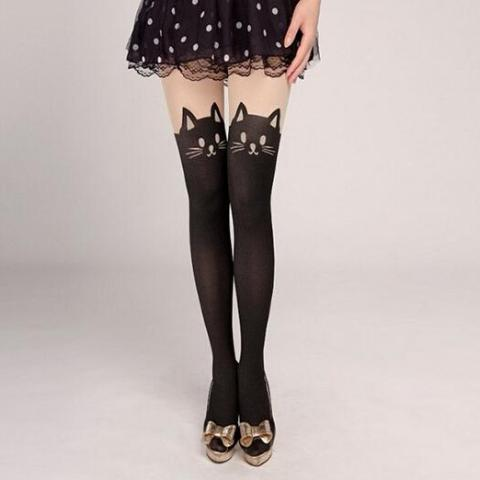 Silky Cat Pantyhose - Unique Boutique - CUTE - Utterly Unique Boutique - Slip on a pair of these unique, silky nylons that feature a velvet cat face on the front and tail on the back. A purrfect match for any dress or skirt. From our unique boutique. Description: Pattern: Cat, Fashion Element: Velvet Cat, Length: Full, Material: Nylon, Cotton, Spandex, Color: Nude With Black.