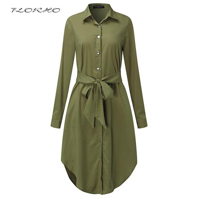 Belted Shirt Dress - Be Unique Boutique - CURVY - FREE SHIP - $17.99 -  A must have for any wardrobe, this dress features a turn-down collar, curved hemline, solid pattern, loose fit, full sleeves, tie and falls to the knee. Your choice of army green or black. From our be unique boutique. Description: Pattern: Solid, Silhouette: Loose, Neckline: Turn-Down, Sleeve Length: Full, Material: Polyester, Spandex, Dress Length: Knee, Fashion